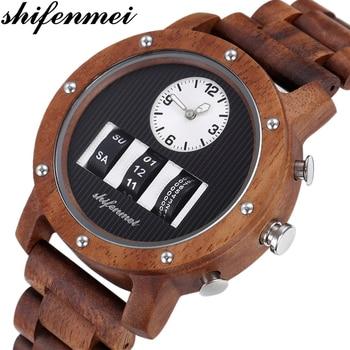 Shifenmei Wood Men Watch Roller Top Luxury Brand Man Military Sport Quartz Wristwatch Wooden Male relogio masculino