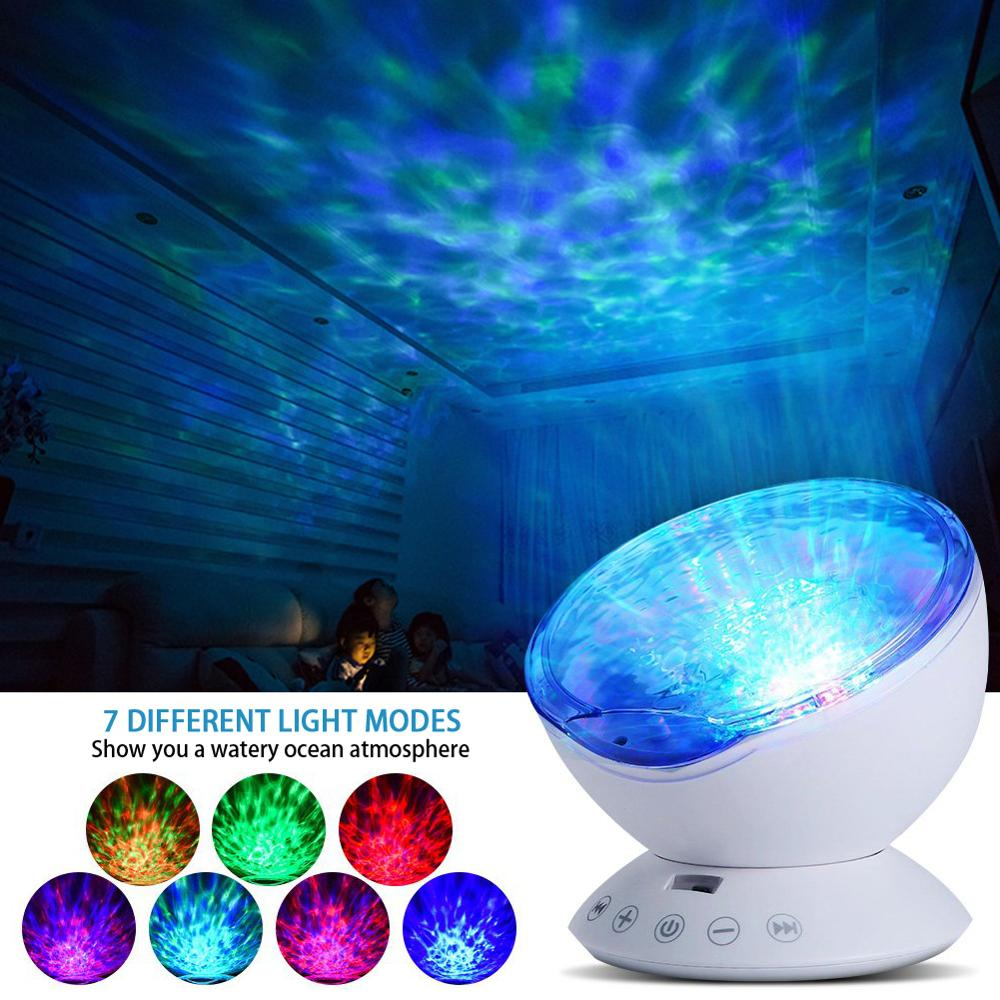 12 LED Remote Control Undersea Projector Lamp 7 Color Changing Music Player Night Light For Bedroom Living Room Decoration