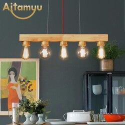 Nowoczesne lampy wiszące drewno LED oświetlenie kuchenne lampa LED jadalnia lampy wiszące lampy sufitowe oprawy oświetleniowe na długi stół