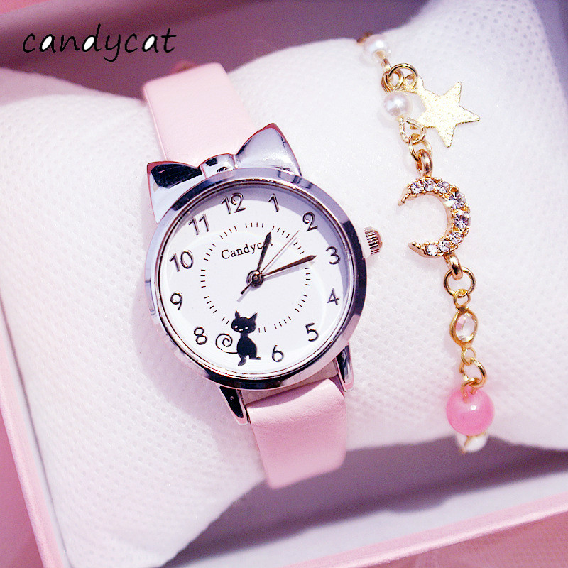 CandyCat Student Watch Children's Analog Quartz Electronic Watch Girl Waterproof 5-15 Years Old Student Girl Child Cute Girl