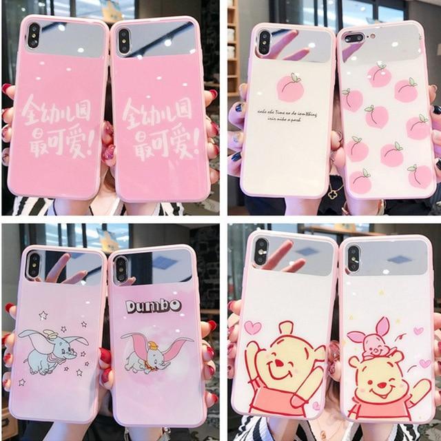 New mirrored gehärtetem glas telefon fall für iPhone X XS XR XSMax 8 7 6 6S PluS cartoon muster nette tropfen schutz abdeckung