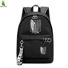 Ataque em titan preto bagpacks impressão floral mochilas mochila de viagem quente anime saco de escola para adolescentes mochilas portáteis