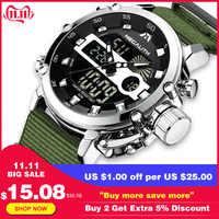 Relogio Masculino, MEGALITH, спортивные водонепроницаемые часы, мужские светящиеся часы с двойным дисплеем, будильник, лучший бренд, Роскошные Кварцевы...