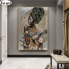 African Woman Graffiti Art 5D Diamond Painting Cross Stitch Abstract Portrait Embroidery Handmade Mosaic Square/Round Decor Gift