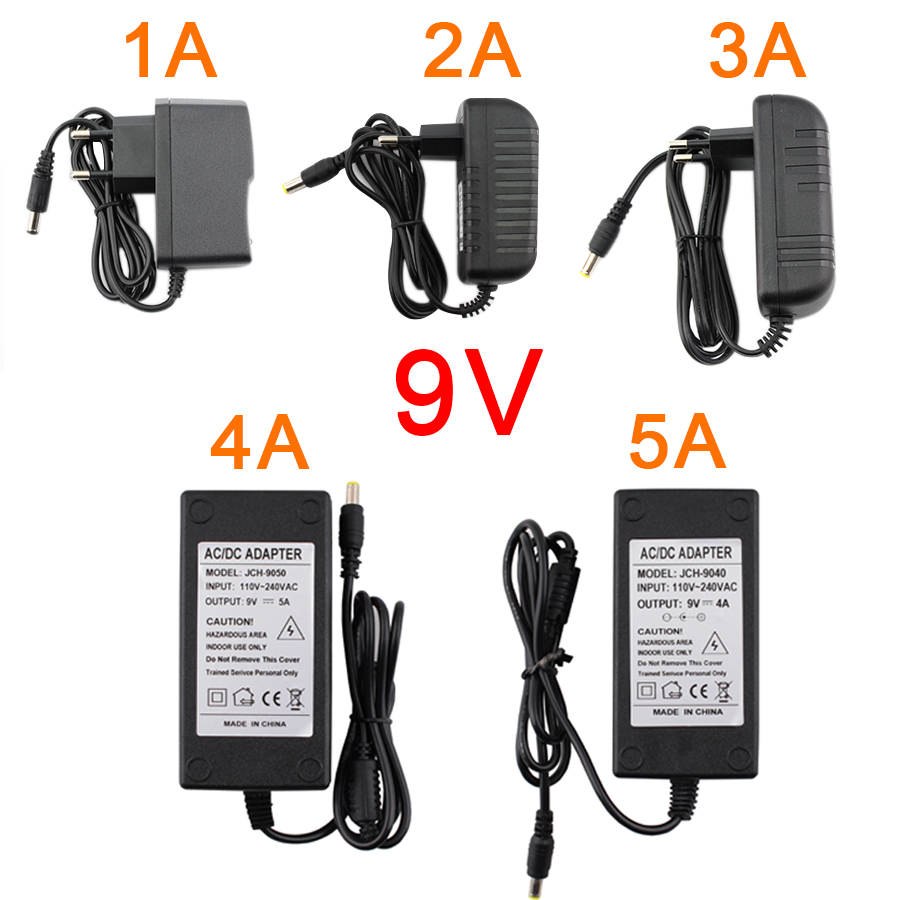 AC/DC 9V Power Supply Adapter Transformer 9V 5A 4A 3A 2A 1A EU US Plug Power Adapter Supply Converter 220V TO 9V LED Light Lamp image