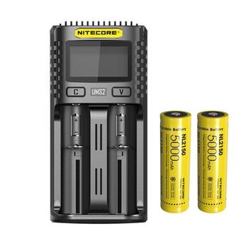 NITECORE UMS2 USB podwójna ładowarka inteligentna ładowarka baterii + akumulator litowo-jonowy NITECORE 21700 NL2150 5000mAh 3 6V 18Wh tanie i dobre opinie CC CE RoHS POWER