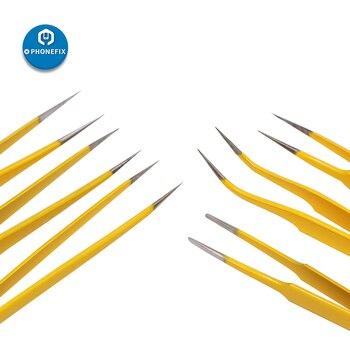 Pinzas electrónicas de precisión antiestática, pinzas de acero inoxidable, Punta curvada en pico, reparación de PCB para teléfono móvil 3