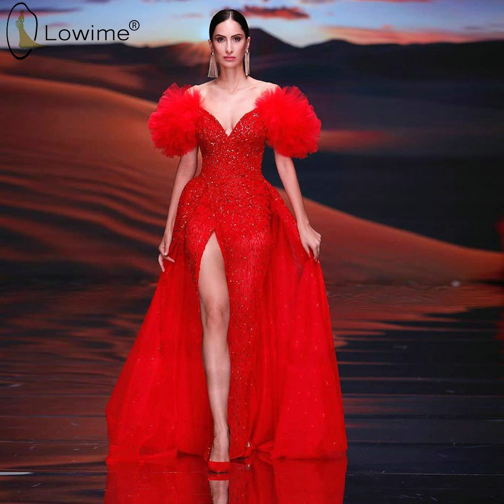 Arabic Vestido De Festa Red Split Beaded Evening Dresses With Detachable Train V Neck Mermaid Robes Prom Party Gowns Couture