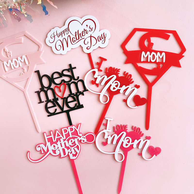 New Double Layer Acrylic Cake Topper Happy MothersDay Mothers Day Cake Decoration Mother's Birthday Gift