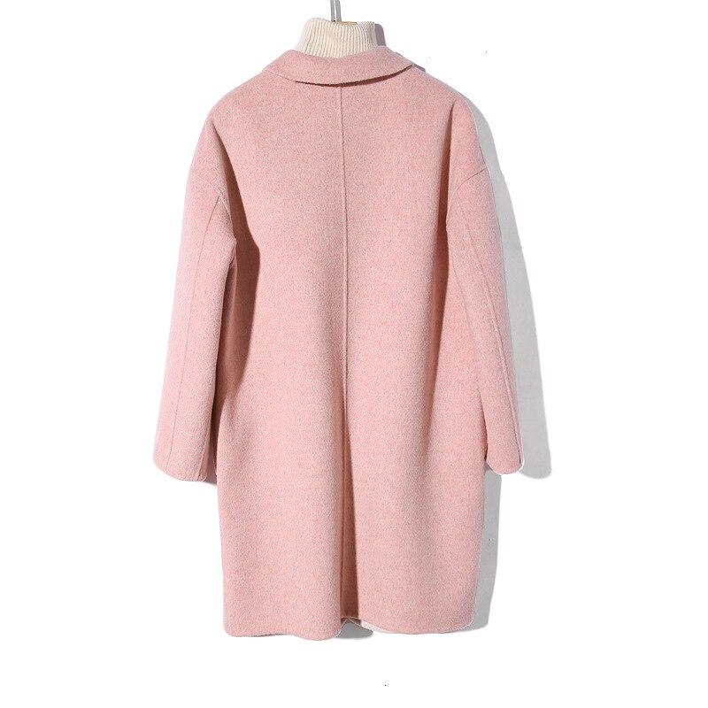 Titotato/новое зимнее женское пальто розового цвета, куртка, пальто, настоящее свободное, 2019, двустороннее шерстяное пальто, Manteau Femme Hiver, топ на п... - 2