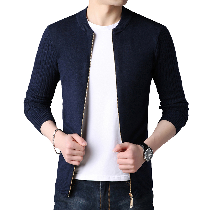 BROWON 2021 Cardigan Autumn Winter Knitted Cardigan for Men Sweater  Slim Fit Sweaters Men Coat Pure Color Jacket Cardigan