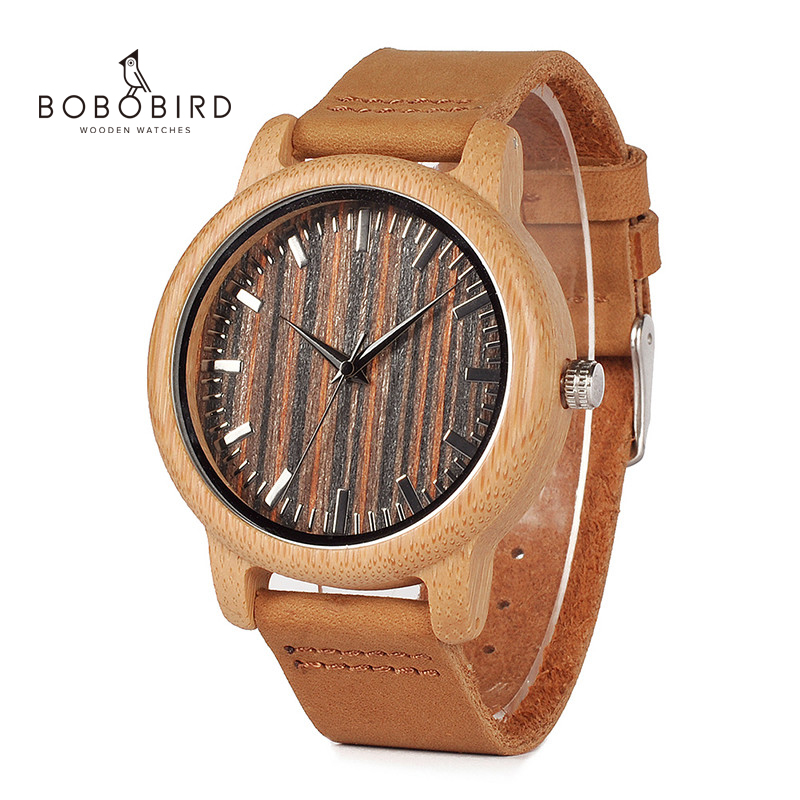 Unique Vogue Mens Quartz Watches Wooden Outdoor Sport Watches Clock With Leather Strap Relojes Hombre 2015