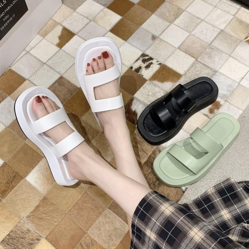 CINESSD PU Outside Slippers Women Shoes Platform Sandals Woman 2020 New Summer Slippers For Women Solid Flat Sandale Femme Heels