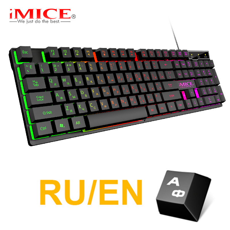 Gaming Keyboard Russian EN Imitation Mechanical Keyboard With Backlight Wired Gamer Keyboard USB Game Keyboards For Computer
