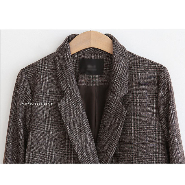 Spring Autumn Blazer Women  New Plaid Korean Jackets Long Sleeve Notched Vintage Casual Fashion Office Coats 5