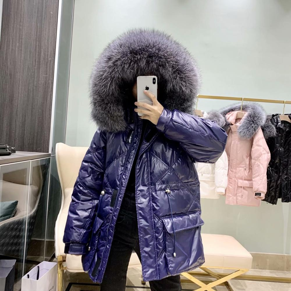 Large Real Natural Fur 2019 New Winter Jacket Women 90% White Duck Down Jacket Hooded Down Outwear Loose Warm Thick Down Parka