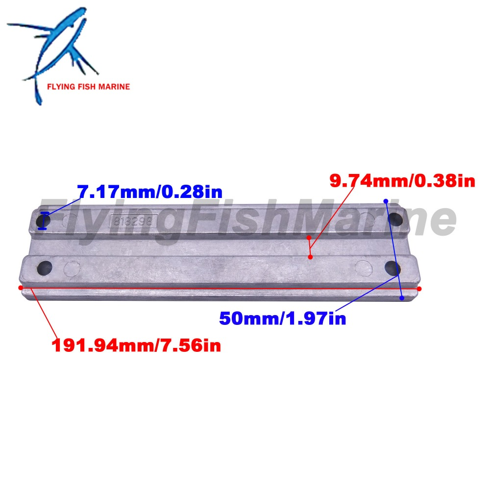 Transom Bracket Aluminum Bar Anode For Mercury 43396A2  818298A1  818298Q1  NEW