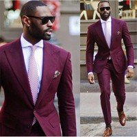 New Design Wedding Men Suits masculino burgundy Mens Suit Jacket 2 piece Slim Fit Prom smoking kingsman costume homme