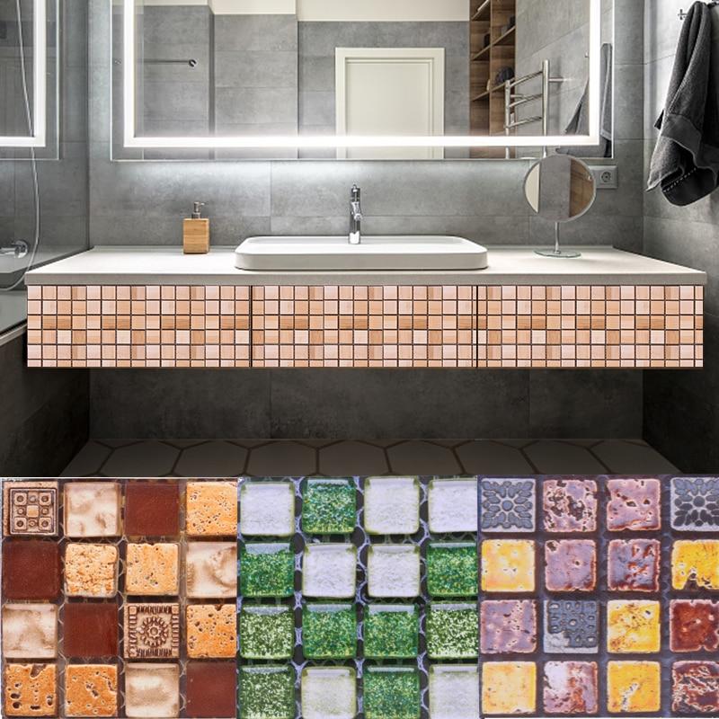 10pcs Mosaic Wall Tile Self Adhesive Waterproof Wall Sticker For Diy Bathroom Kitchen Backsplash Home Decor 10 10cm Pvc Stickers Wall Stickers Aliexpress