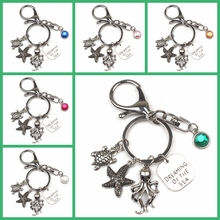 New 7 Color Dreaming of The Sea Keychains Shell Charms with Starfish Pendant Fish Tail Keyring Blue Turtle Beach Jewelry