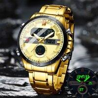 CURREN Mode Sport Gold männer Digitale Uhren mit Edelstahl Chronograph Luminou Armbanduhr LED Männlichen Armbanduhr Für Männer
