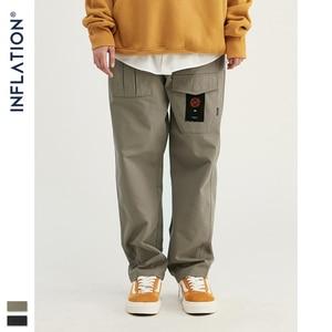 Image 5 - INFLATION Loose Straight Men Cargo Pants 2020 Autumn Streetwear Functional Pocket Men Pants Hip Hop Solid Men Casual Pant 93341W