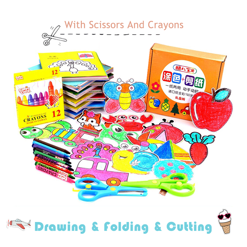 96/192 Pcs Craft Paper Cut Book Kids Toys With Scissors DIY Children Scrapbooking Drawing Toys For Baby Educational Toy Gifts