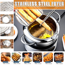 Kitchen Deep Frying Pot Thermometre Tempura Fryer Pan Temperature Control Fried Chicken Pot Cooking Tools Stainless Steel