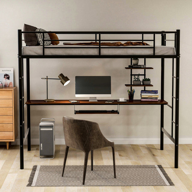 Metal Loft bed with Desk and Shelves 3