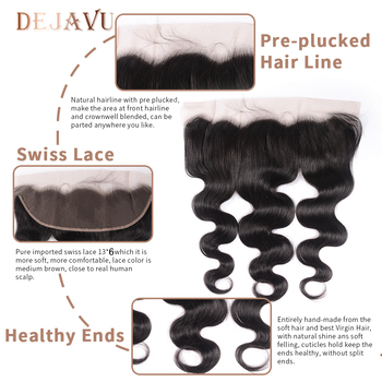 Dejavu Body Wave Bundles With Closure Brazilian Hair Weave Bundles With Frontal Human Hair Frontal With Bundles Hair Extension 5