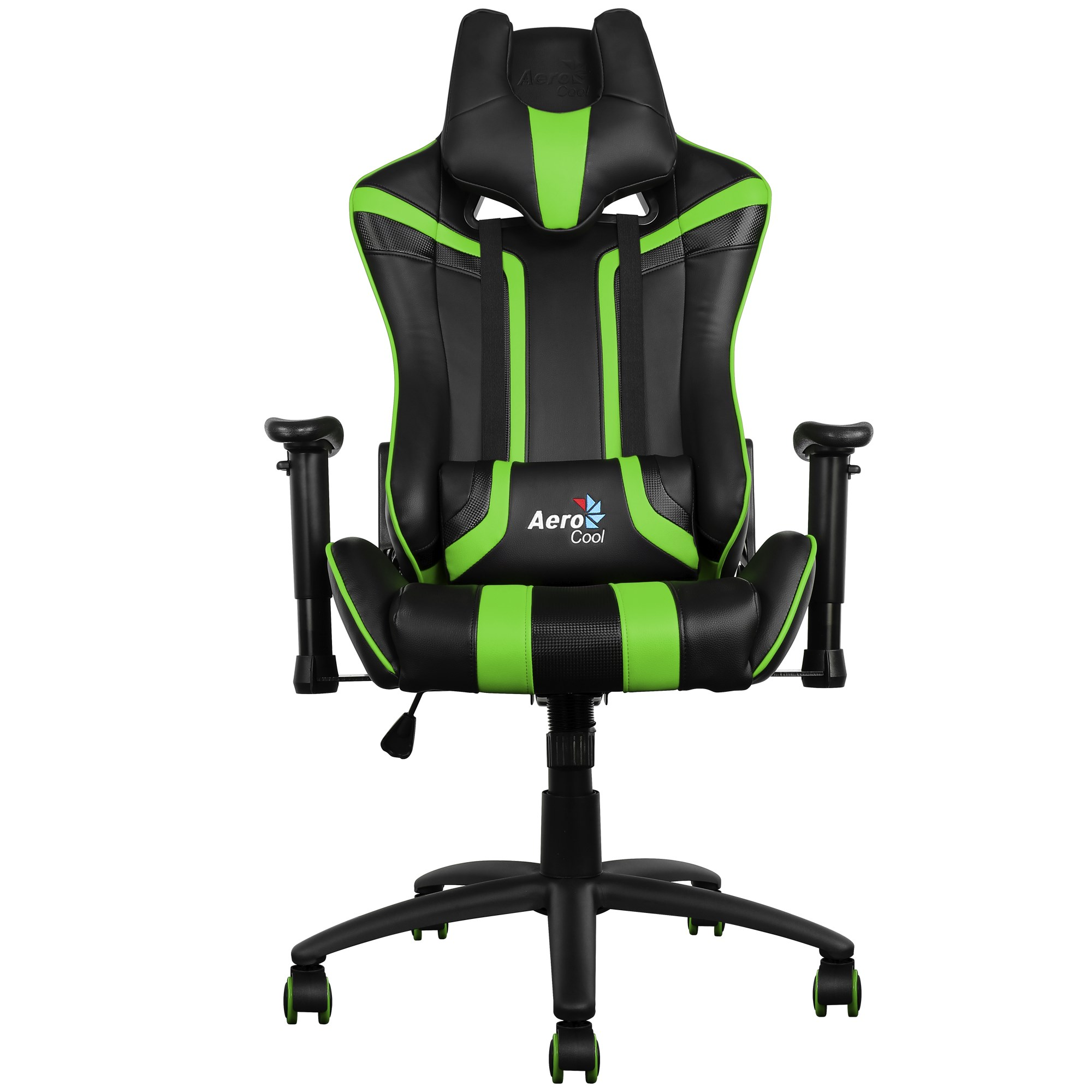 Aerocool AC120, Chair Gaming, Height And Respaldo Dimmable, Head Supports, Green