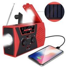 Rádio solar de emergência com led am/fm, alarme de leitura