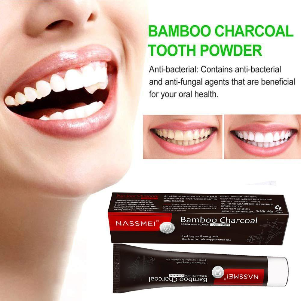 Activated Bamboo Charcoal Black Toothpaste Teeth Whitening Tooth Stains Remove Whitener Anti-sensitive Anti-moth Paste C4M8