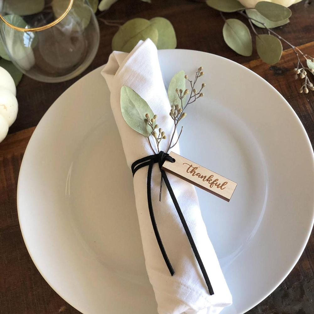 Personalized Wedding Party Thankful Tags- Custom Name With Wedding Thanksgiving Napkin Ring- One Dozen Engraved Wood
