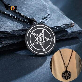 Vnox collar elegante con sello de Satán de acero inoxidable, colgante de pentagrama invertido con diablo de cabra, joyería