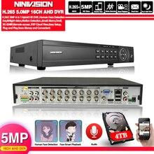 Видеорегистратор, 16 каналов, AHD, DVR, 16 каналов, 1080P, 5 МП, 2592*11944, цифровое видео, аудио, гибридный видеорегистратор, NVR, 6 в 1, система сигнализации