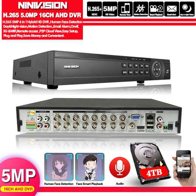 Gezicht 16 Kanaals Ahd Dvr 16CH 1080P 5MP 2592*11944 Digitale Video Audio Recorder Hybride Dvr Nvr Hvr 6 In 1 Alarm Security System