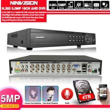 Viso 16 Canali AHD DVR 16CH 1080P 5MP 2592*11944 Digital Video Audio Recorder DVR Hybrid NVR HVR 6 In 1 Sistema di Sicurezza di Allarme