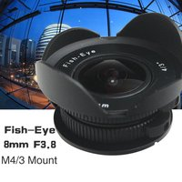 8mm F3.8 Fish eye C mount Wide Angle Fisheye Lens Focal length Fish eye Lens Suit For Panasonic Olympus Micro Four Thirds M4/3