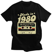 Camiseta masculina feita em 1980 t 40th aniversário 40 anos da velha escola retro 80 t camisa aniversário algodão topo manga curta camiseta única