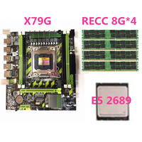 Black + green PCB board + metal X79G LGA2011 desktop motherboard with E5 2689 processor and 4 8G ECC memory modules Carton packa