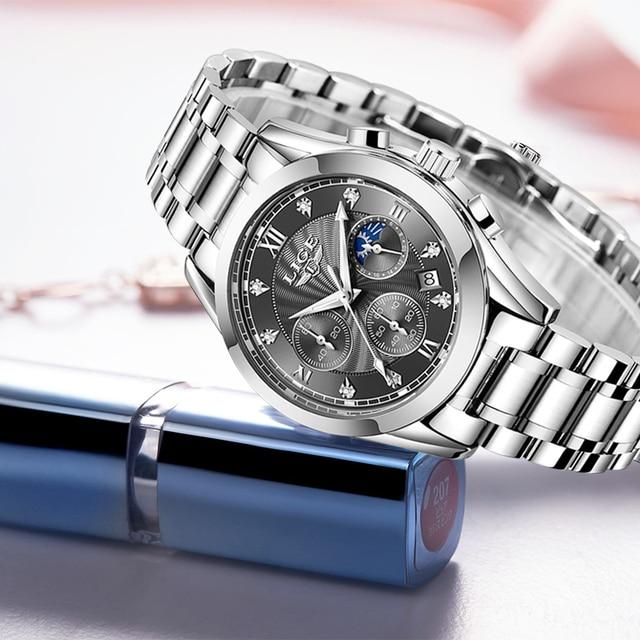 LIGE Luxury Ladies Watch Women Waterproof Rose Gold Steel Strap Women Wrist Watches Top Brand Bracelet Clocks Relogio Feminino 4