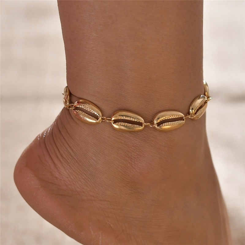 Modyle Gold Color SeaShell Anklet For Women Foot Jewelry Summer Beach Barefoot Bracelet Ankle On Leg strap Bohemian Jewelry
