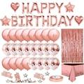 Rose gold balloon setbirthday party decorations ,rose gold rain silk tablecloth decoration set ,Girls Women Heart Star Meeting