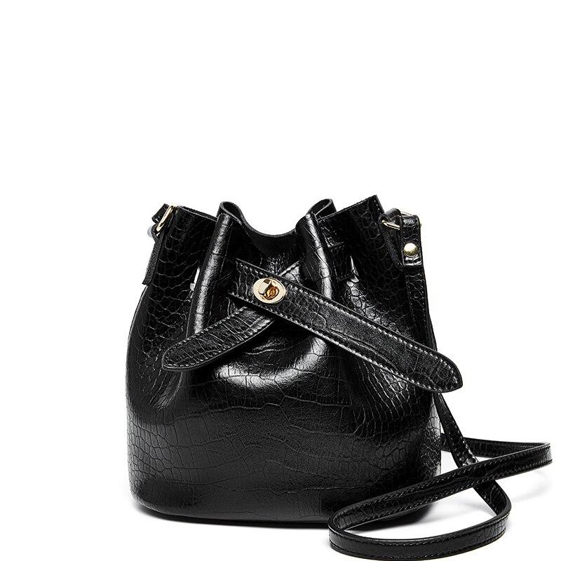 2019 nova mulheres balde couro do couro bolsa mulheres bolsas de ombro negro cor corssboy sacos do mensageiro para as mulheres