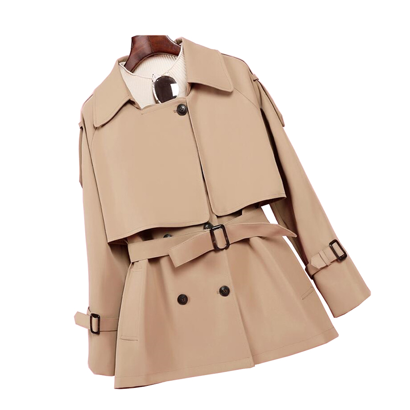 2020 High Quality Spring Autumn Short Trench Coat Women Fashion Double Breasted Khaki Windbreaker Casual Top Outerwear Coat 3170