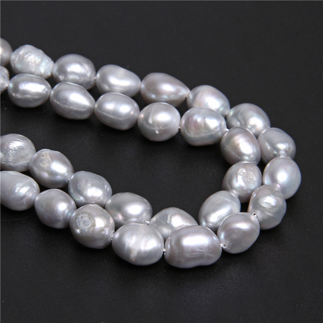 6-11mm Irregular White Gray Pearl Natural Oval Potato Baroque Loose Pearl Beads For Jewelry Making DIY Craft Necklace 14''Strand
