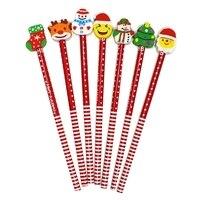 50 Pcs Weihnachten Bleistifte und Radiergummis Set Weihnachten Bleistifte Assorted Radiergummis Designs Urlaub Bleistifte Groß Weihnachten Schule Suppli