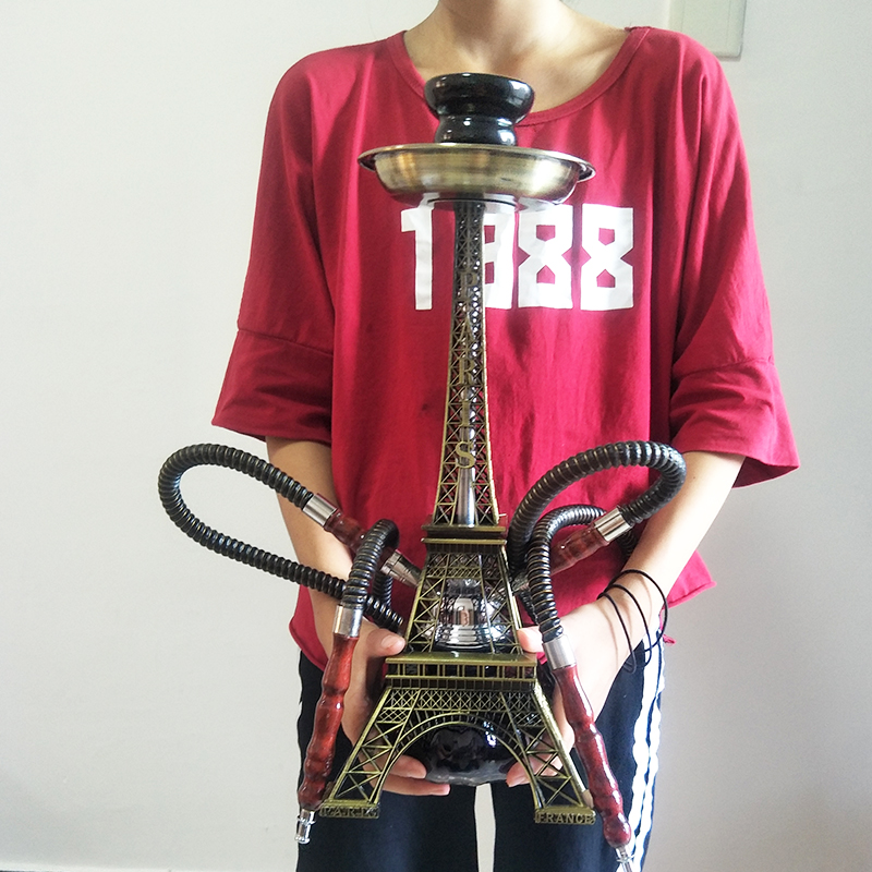 Paris Tower Metal Shisha Hookah Double Hose With Ceramic Plate Bowl Tweezers Charcoal Shisha Hookah Nargile Acrylic Base