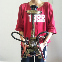 Paris Tower Metal Shisha Hookah Double Hose with Ceramic Plate Bowl Tweezers Charcoal Shisha Hookah Nargile Acrylic Base